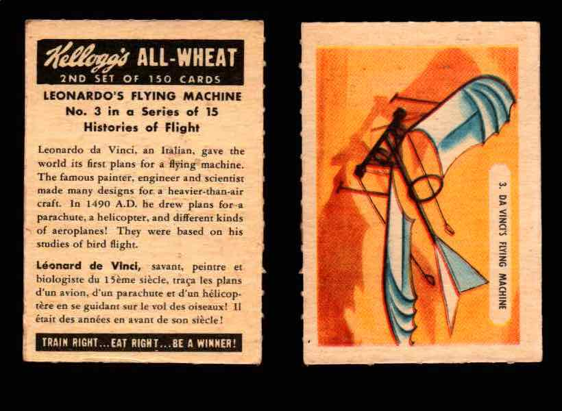 1946 Kelloggs All-Wheat Series 2 Histories of Flight Vintage Card #1-15 Singles #3 Leonardo's Flying Machine  - TvMovieCards.com