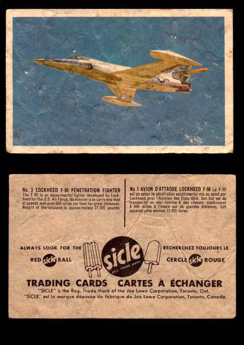 1959 Sicle Aircraft & Missile Canadian Vintage Trading Card U Pick Singles #1-25 #3 Lockheed F-90 Penetration Fighter  - TvMovieCards.com