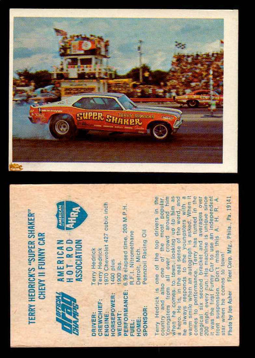 "AHRA Official Drag Champs 1971 Fleer Vintage Trading Cards You Pick Singles 3   Terry Hedrick's ""Super Shaker""                   Chevy II Funny Car  - TvMovieCards.com"