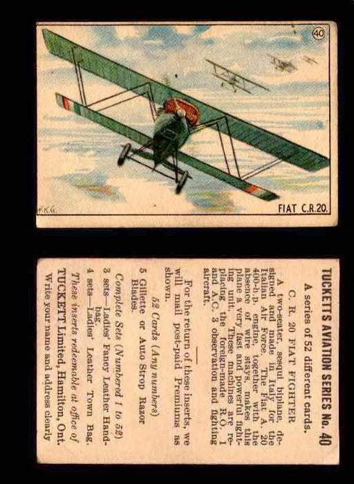 1929 Tucketts Aviation Series 1 Vintage Trading Cards You Pick Singles #1-52 #40 C.R. 20 Fiat Fighter  - TvMovieCards.com