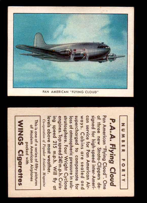 "1940 Modern American Airplanes Series 1 Vintage Trading Cards Pick Singles #1-50 40 Pan American ""Flying Cloud"" (Strato Clipper)  - TvMovieCards.com"