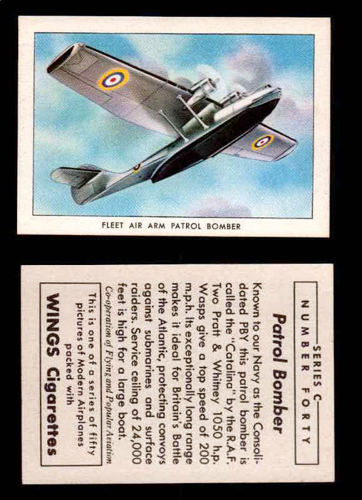 1942 Modern American Airplanes Series C Vintage Trading Cards Pick Singles #1-50 40	 	Fleet Air Arm Patrol Bomber  - TvMovieCards.com
