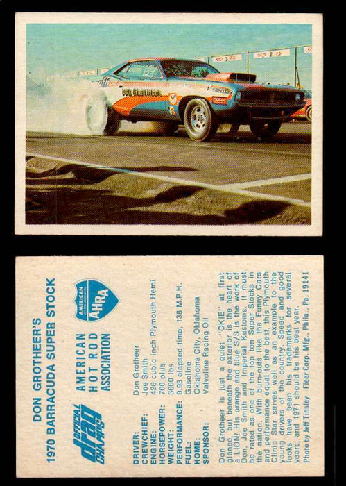 AHRA Official Drag Champs 1971 Fleer Vintage Trading Cards You Pick Singles 40   Don Grotheer's                                   1970 Barracuda Super Stock  - TvMovieCards.com