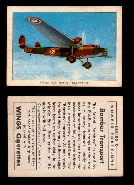 1942 Modern American Airplanes Series C Vintage Trading Cards Pick Singles #1-50 41	 	Royal Air Force Transport  - TvMovieCards.com