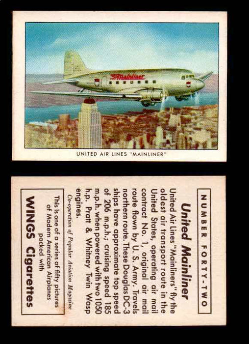 "1940 Modern American Airplanes Series 1 Vintage Trading Cards Pick Singles #1-50 42 United Air Lines ""Mainliner"" (Douglas DC-3)  - TvMovieCards.com"