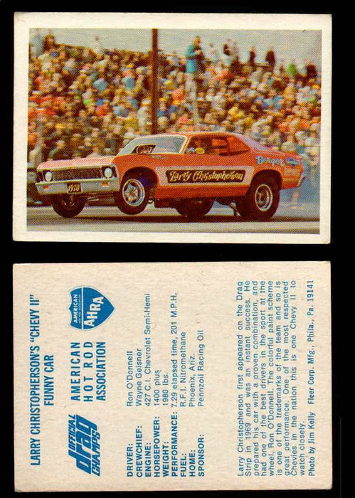 "AHRA Official Drag Champs 1971 Fleer Vintage Trading Cards You Pick Singles 42   Larry Christopherson's ""Chevy II""                Funny Car  - TvMovieCards.com"