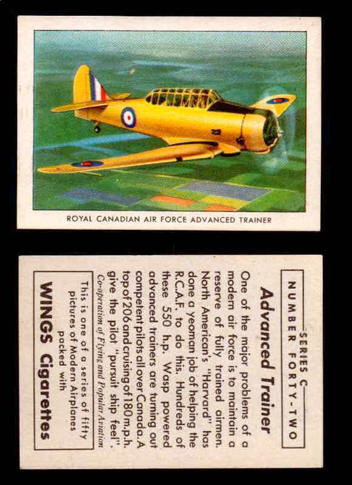 1942 Modern American Airplanes Series C Vintage Trading Cards Pick Singles #1-50 42	 	Royal Canadian Air Force Advanced Trainer  - TvMovieCards.com