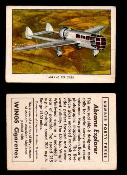 1940 Modern American Airplanes Series 1 Vintage Trading Cards Pick Singles #1-50 43 Abrams Explorer  - TvMovieCards.com