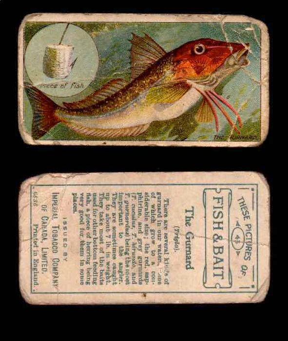 1910 Fish and Bait Imperial Tobacco Vintage Trading Cards You Pick Singles #1-50 #43 The Gurnard  - TvMovieCards.com