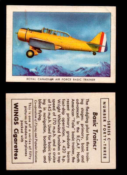 1942 Modern American Airplanes Series C Vintage Trading Cards Pick Singles #1-50 43	 	Royal Canadian Air Force Basic Trainer  - TvMovieCards.com