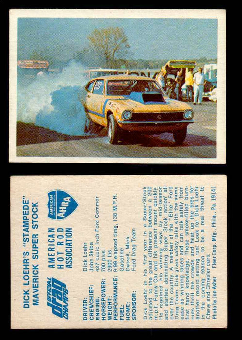 "AHRA Official Drag Champs 1971 Fleer Vintage Trading Cards You Pick Singles 43   Dick Loehr's ""Stampede""                          Maverick Super Stock  - TvMovieCards.com"
