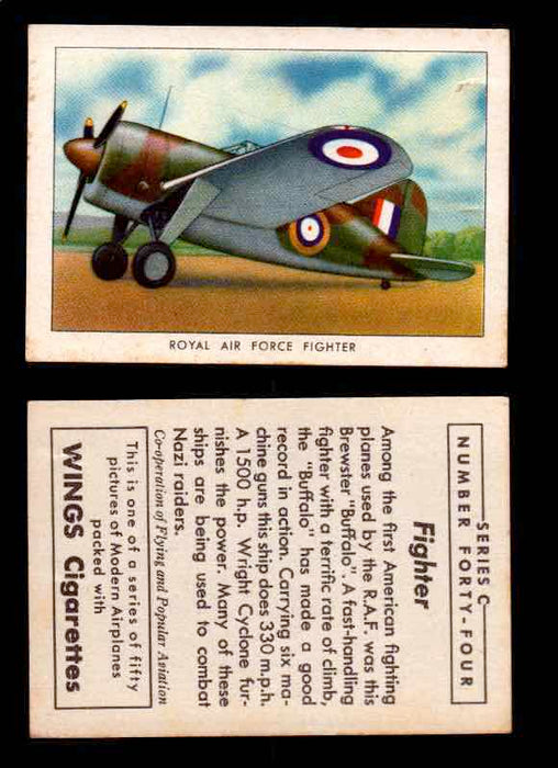 1942 Modern American Airplanes Series C Vintage Trading Cards Pick Singles #1-50 44	 	Royal Air Force Fighter  - TvMovieCards.com