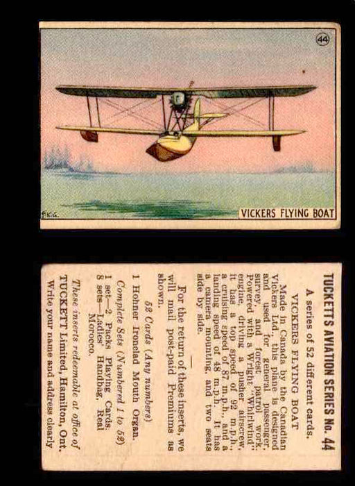 1929 Tucketts Aviation Series 1 Vintage Trading Cards You Pick Singles #1-52 #44 Vickers Flying Boat  - TvMovieCards.com