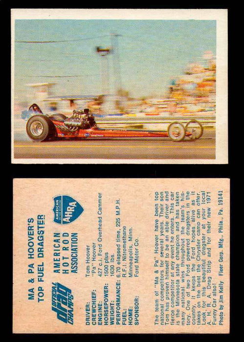 AHRA Official Drag Champs 1971 Fleer Vintage Trading Cards You Pick Singles 44   Ma & Pa Hoover's                                 Top Fuel Dragster  - TvMovieCards.com