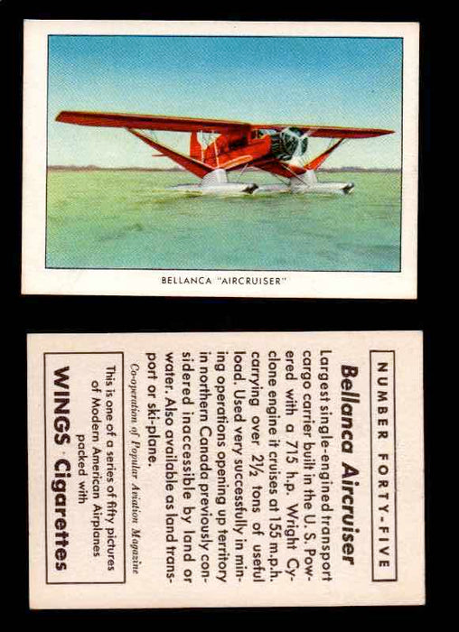 "1940 Modern American Airplanes Series 1 Vintage Trading Cards Pick Singles #1-50 45 Bellanca ""Aircruiser""  - TvMovieCards.com"