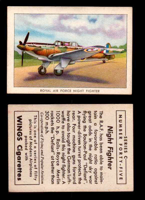 1942 Modern American Airplanes Series C Vintage Trading Cards Pick Singles #1-50 45	 	Royal Air Force Night Fighter  - TvMovieCards.com