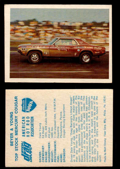 AHRA Official Drag Champs 1971 Fleer Vintage Trading Cards You Pick Singles 45   Beyer & Young                                    Top Stock Mercury Cougar  - TvMovieCards.com