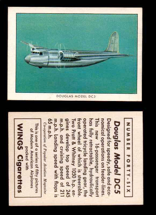 1940 Modern American Airplanes Series 1 Vintage Trading Cards Pick Singles #1-50 46 Douglas Model DC-5  - TvMovieCards.com