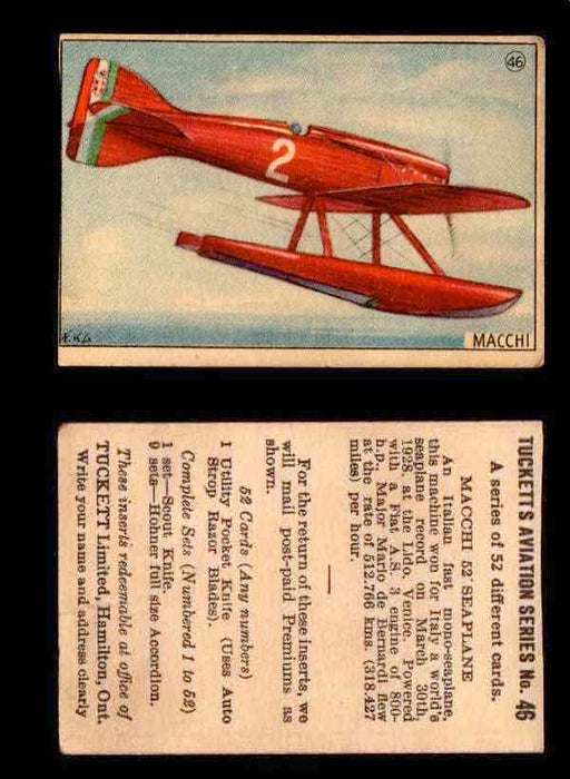1929 Tucketts Aviation Series 1 Vintage Trading Cards You Pick Singles #1-52 #46 Macchi 52' Seaplane  - TvMovieCards.com