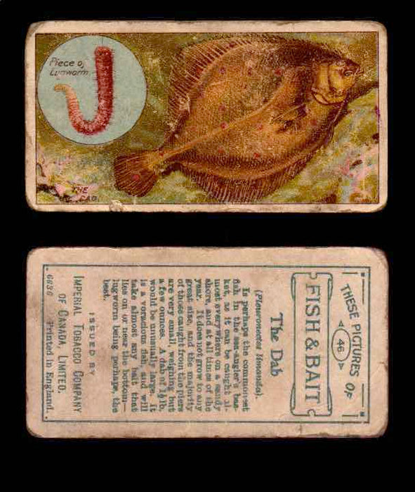 1910 Fish and Bait Imperial Tobacco Vintage Trading Cards You Pick Singles #1-50 #46 The Dab  - TvMovieCards.com