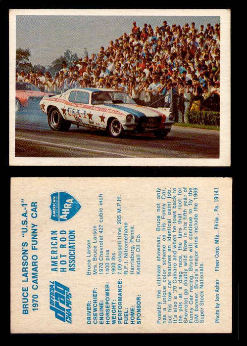 "AHRA Official Drag Champs 1971 Fleer Vintage Trading Cards You Pick Singles 47   Bruce Larson's ""U.S.A.-1""                        1970 Camaro Funny Car  - TvMovieCards.com"