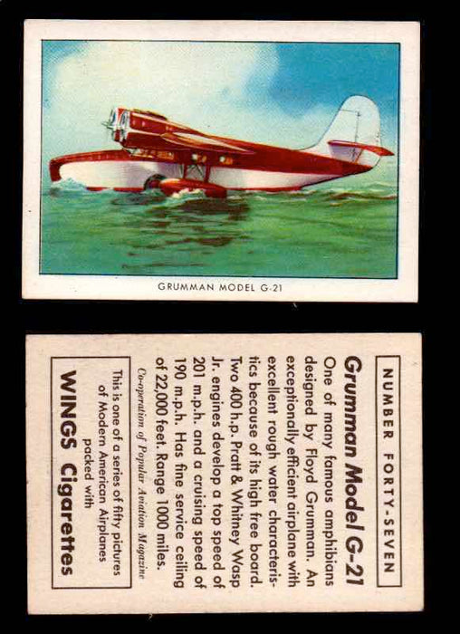 1940 Modern American Airplanes Series 1 Vintage Trading Cards Pick Singles #1-50 47 Grumman Model G-21  - TvMovieCards.com