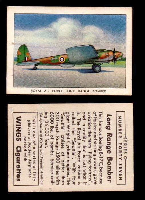 1942 Modern American Airplanes Series C Vintage Trading Cards Pick Singles #1-50 47	 	Royal Air Force Long Range Bomber  - TvMovieCards.com