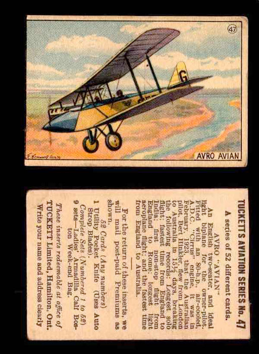 1929 Tucketts Aviation Series 1 Vintage Trading Cards You Pick Singles #1-52 #47 Avro Avian  - TvMovieCards.com