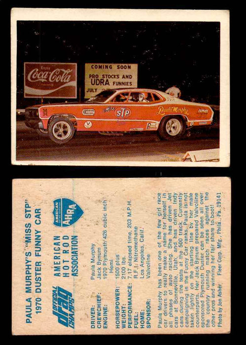 "AHRA Official Drag Champs 1971 Fleer Vintage Trading Cards You Pick Singles 48   Paula Murphy's ""Miss STP""                        1970 Duster Funny Car  - TvMovieCards.com"
