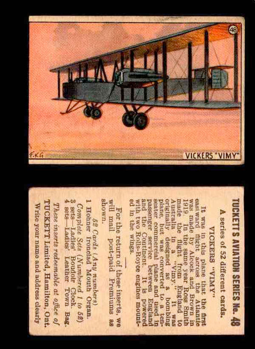 1929 Tucketts Aviation Series 1 Vintage Trading Cards You Pick Singles #1-52 #48 Vickers Vimy  - TvMovieCards.com