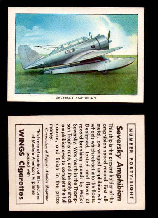 1940 Modern American Airplanes Series 1 Vintage Trading Cards Pick Singles #1-50 48 Seversky Amphibian  - TvMovieCards.com