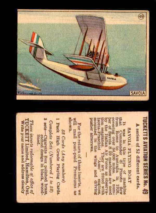 1929 Tucketts Aviation Series 1 Vintage Trading Cards You Pick Singles #1-52 #49 Savola Flying Boat  - TvMovieCards.com