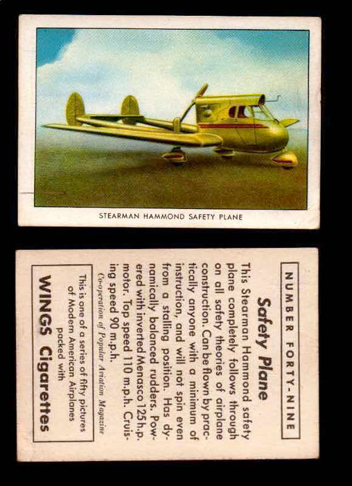 1940 Modern American Airplanes Series 1 Vintage Trading Cards Pick Singles #1-50 49 Stearman Hammond Safety Plane  - TvMovieCards.com