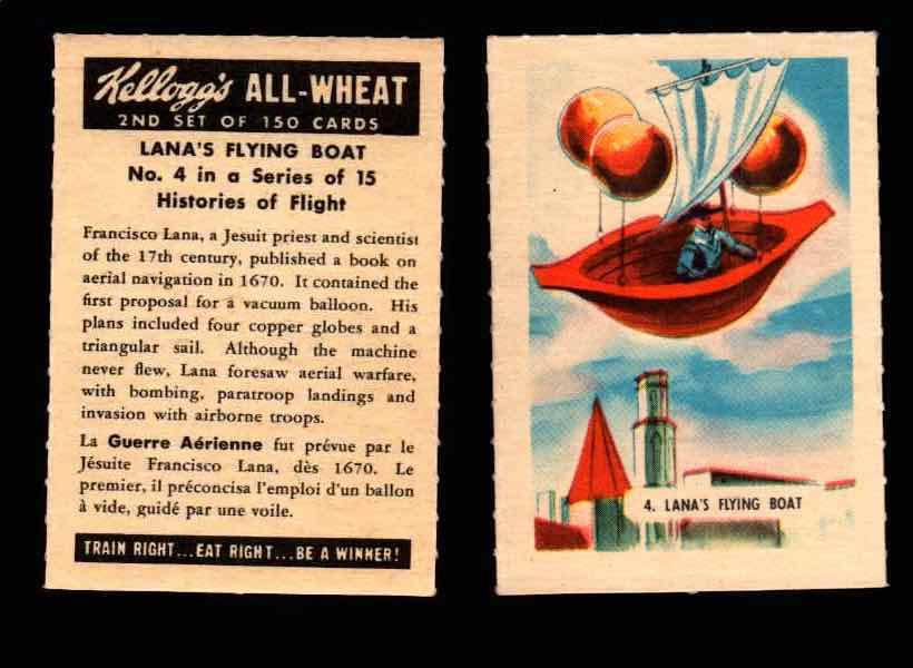 1946 Kelloggs All-Wheat Series 2 Histories of Flight Vintage Card #1-15 Singles #4 Lana's Flying Boat  - TvMovieCards.com