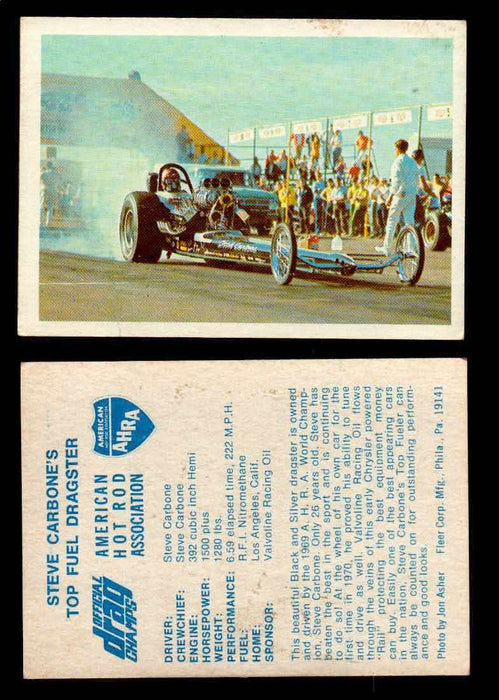 AHRA Official Drag Champs 1971 Fleer Vintage Trading Cards You Pick Singles 4   Steve Carbone's                                  Top Fuel Dragster  - TvMovieCards.com