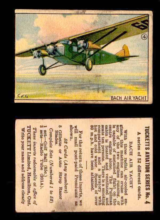1929 Tucketts Aviation Series 1 Vintage Trading Cards You Pick Singles #1-52 #4 Bach Air Yacht  - TvMovieCards.com