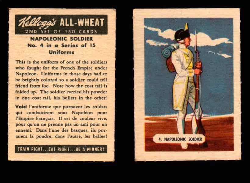 1946 Kelloggs All-Wheat Series 2 Uniforms Vintage Trading Cards #1-15 Singles #4 Napoleonic Soldier  - TvMovieCards.com
