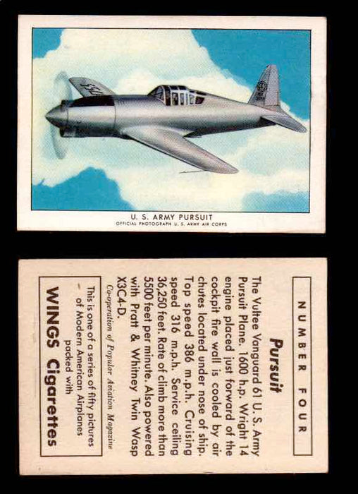 1940 Modern American Airplanes Series 1 Vintage Trading Cards Pick Singles #1-50 4 U.S. Army Pursuit (Vultee Vanguard 61)  - TvMovieCards.com