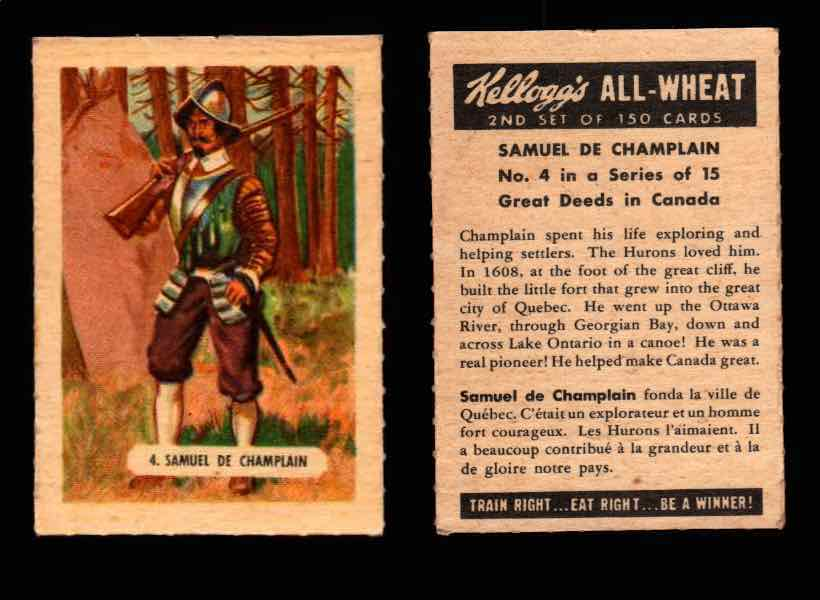 1946 Kelloggs All-Wheat Series 2 Great Deeds in Canada Vintage Card #1-15 Singles #4 Samuel De Champlain  - TvMovieCards.com