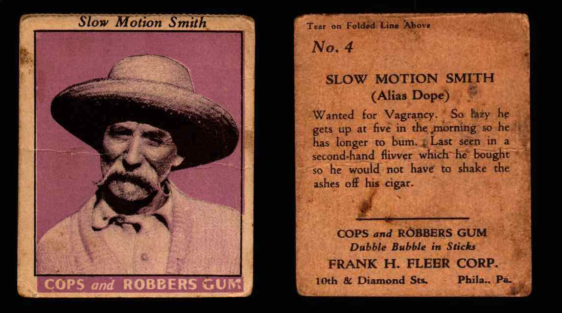 1935 Fleer Cops and Robbers Gum Vintage Trading Card #1-35 Singles #4 Slow Motion Smith  - TvMovieCards.com