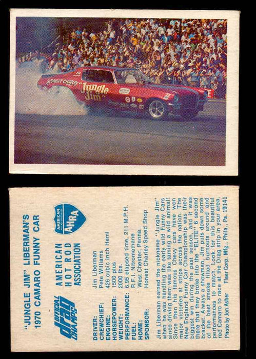"AHRA Official Drag Champs 1971 Fleer Vintage Trading Cards You Pick Singles 50   ""Jungle Jim"" Liberman's                          1970 Camaro Funny Car  - TvMovieCards.com"