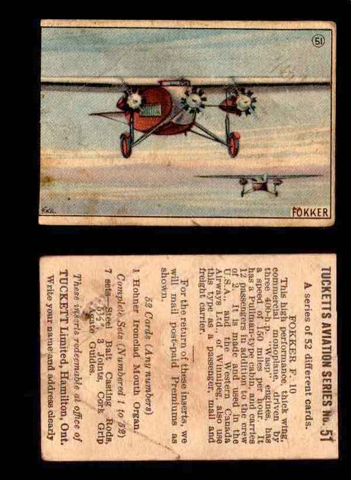 1929 Tucketts Aviation Series 1 Vintage Trading Cards You Pick Singles #1-52 #51 Fokker F 10  - TvMovieCards.com