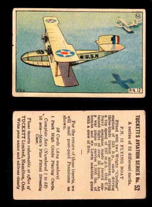 1929 Tucketts Aviation Series 1 Vintage Trading Cards You Pick Singles #1-52 #52 P.N. 12 Flying Boat  - TvMovieCards.com