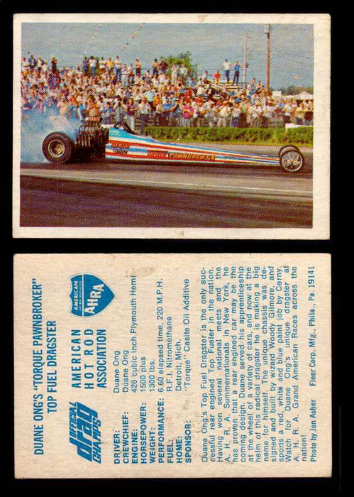 "AHRA Official Drag Champs 1971 Fleer Vintage Trading Cards You Pick Singles 52   Duane Ong's ""Torque Pawnbroker""                  Top Fuel Dragster  - TvMovieCards.com"