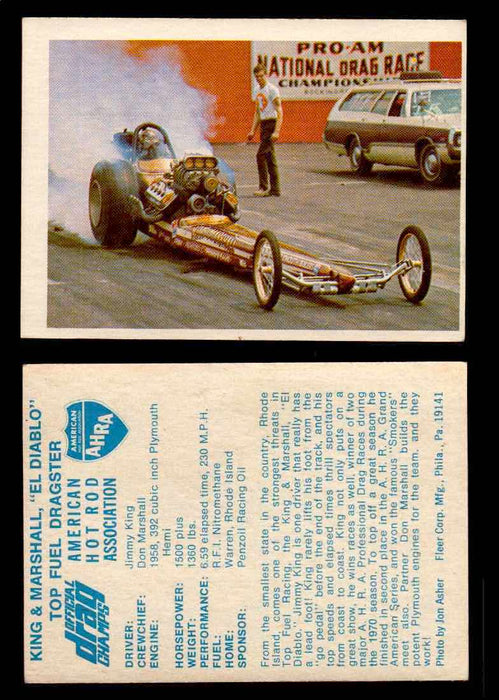 "AHRA Official Drag Champs 1971 Fleer Vintage Trading Cards You Pick Singles 55   King & Marshall ""El Diablo""                     Top Fuel Dragster  - TvMovieCards.com"