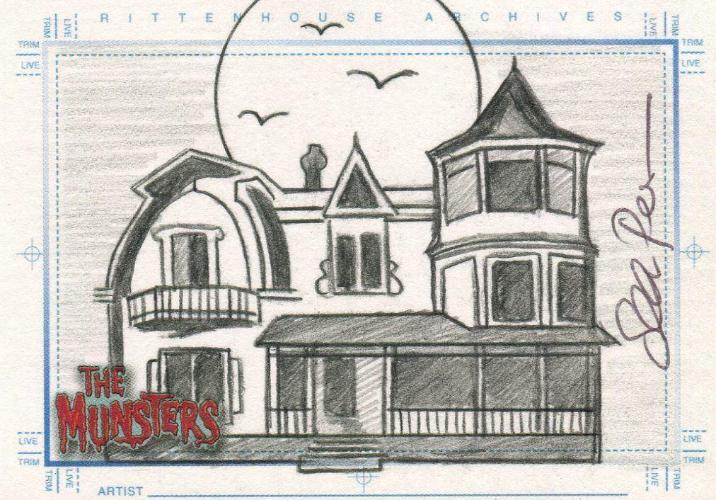 Munsters (2005) Artist Sean Pence Autograph Sketch Card The Munster Mansion Front