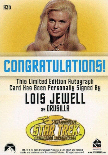 Star Trek TOS Art & Images Lois Jewell Autograph Card A35   - TvMovieCards.com