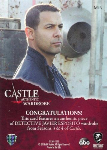 Castle Seasons 3 & 4 Javier Esposito Wardrobe Costume Card M13   - TvMovieCards.com