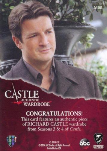 Castle Seasons 3 & 4 Richard Castle Wardrobe Costume Card M08   - TvMovieCards.com