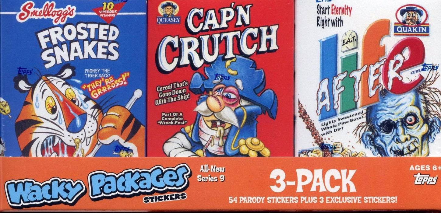 Wacky Packages Stickers Series Nine 3-Pack Cereal Card Box Collection   - TvMovieCards.com